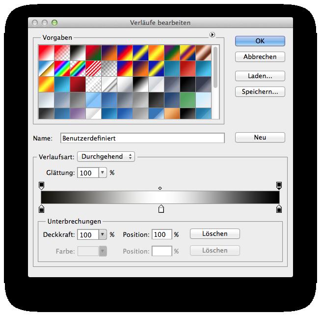Farbverlauf schwarz-weiss-schwarz erstellen.