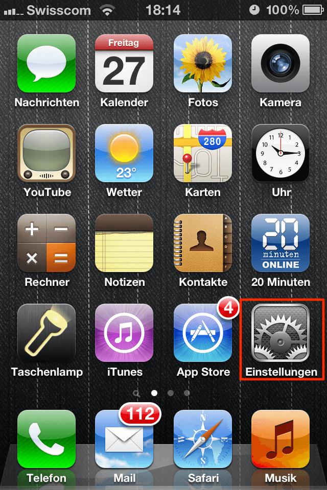 iPhone - Einstellungen >> Allgemein
