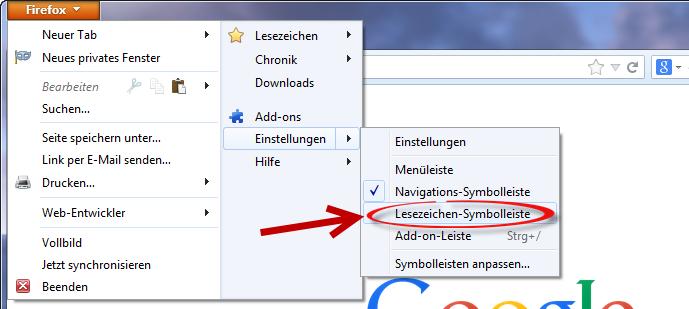 Lesezeichen-Symbolleiste einblenden Firefox