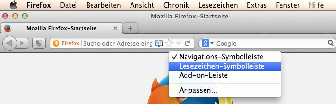 Mac Lesezeichen-Symbolleiste einblenden